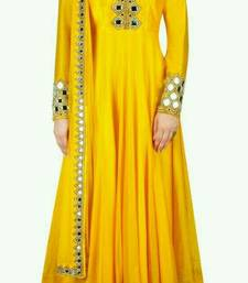 Buy Yellow mirror georgette semi stitched salwar with dupatta anarkali-salwar-kameez online