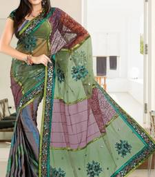 Buy Dazzling Green and Maroon Net Brasso Party Wear Saree With Blouse brasso-saree online