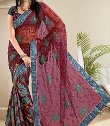 Buy Sparkling Maroon Net Brasso Party Wear Saree With Blouse net-saree online