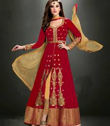 Buy Red embroidered georgette semi stitched anarkali dress anarkali-salwar-kameez online