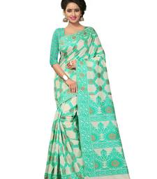 Buy Green embroidered poly cotton saree with blouse cotton-saree online