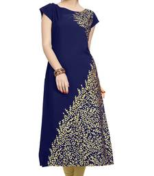 Buy blue printed crepe stitched kurti long-kurtis online