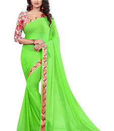 Buy Parrot green printed nazneen saree with blouse party-wear-saree online