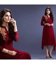 Buy Maroon embroidered Fox Georgette semi stitched kurti diwali-kurti online