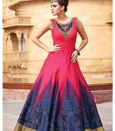 pink printed  banglory silk semi stiched gown (premium quality )