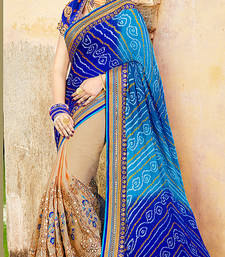 Buy Blue embroidered tussar silk saree with blouse ethnic-saree online