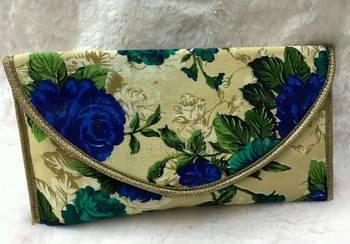 Multicolour raw silk printed clutches