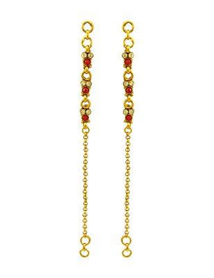 Ruby Red Polki Stones Ear Chain Jewellery for Women - Orniza