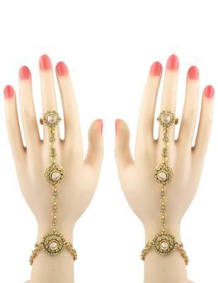 Golden Beige Polki Stones Haath Panja Phool Jewellery for Women - Orniza