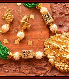 Buy Grand Temple jewellery with pearl & semi-precious stone grand gold plated necklace set necklace-set online