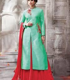 Buy Green embroidered cotton silk semi stitched salwar with dupatta anarkali-salwar-kameez online