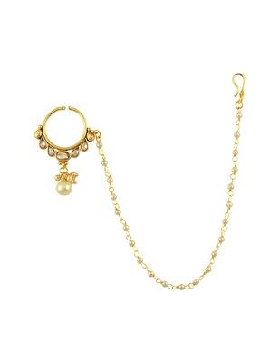 Golden Beige Polki Stones Nose Ring Nath Jewellery for Women - Orniza