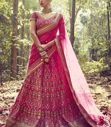 Buy Dark rani pink embroidered banglory silk unstitched lehenga bridal-lehenga online
