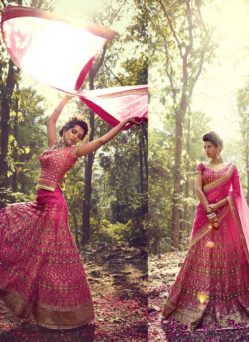 Buy Dark Rani Pink Embroidered Banglory Silk Unstitched