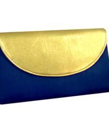 Stylish neavy blue half flap clutch