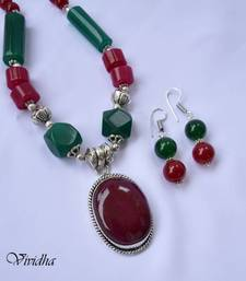 Buy Red and green Necklace Set with Pendent necklace-set online