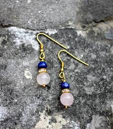 Buy Rose Quartz and Lapis Earrings danglers-drop online