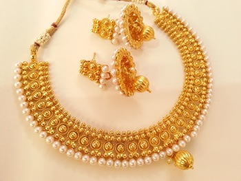 Royal metallic necklace set with jhumkas