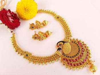 Royal multicolor kemp peacock necklace with jhumkas