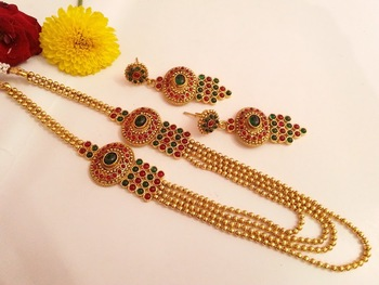 Gorgeous multicolor layer necklace set with matching earrings