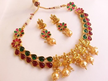 Marvellous multicolor kemp temple jewellery with pearl drops