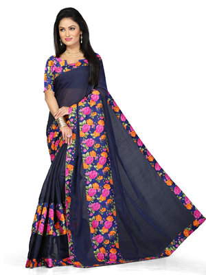 blue Plain Cotton saree with blouse