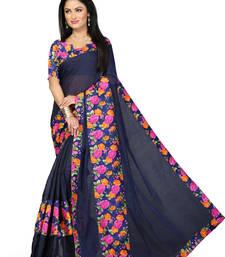Buy blue Plain Cotton saree with blouse cotton-saree online