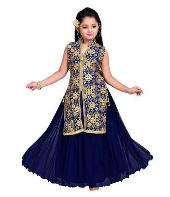 Buy Navy Blue Zari Embroidery Nett Anarkali Jacket Style