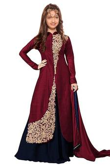 c91aa930139 Maroon Dori Embroidery Banglori Silk indo Western Style ReadyMade Kids Wear  · Shop Now