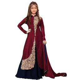 b9a74782ee8d8 Maroon Dori Embroidery Banglori Silk indo Western Style ReadyMade Kids Wear  indian-dress