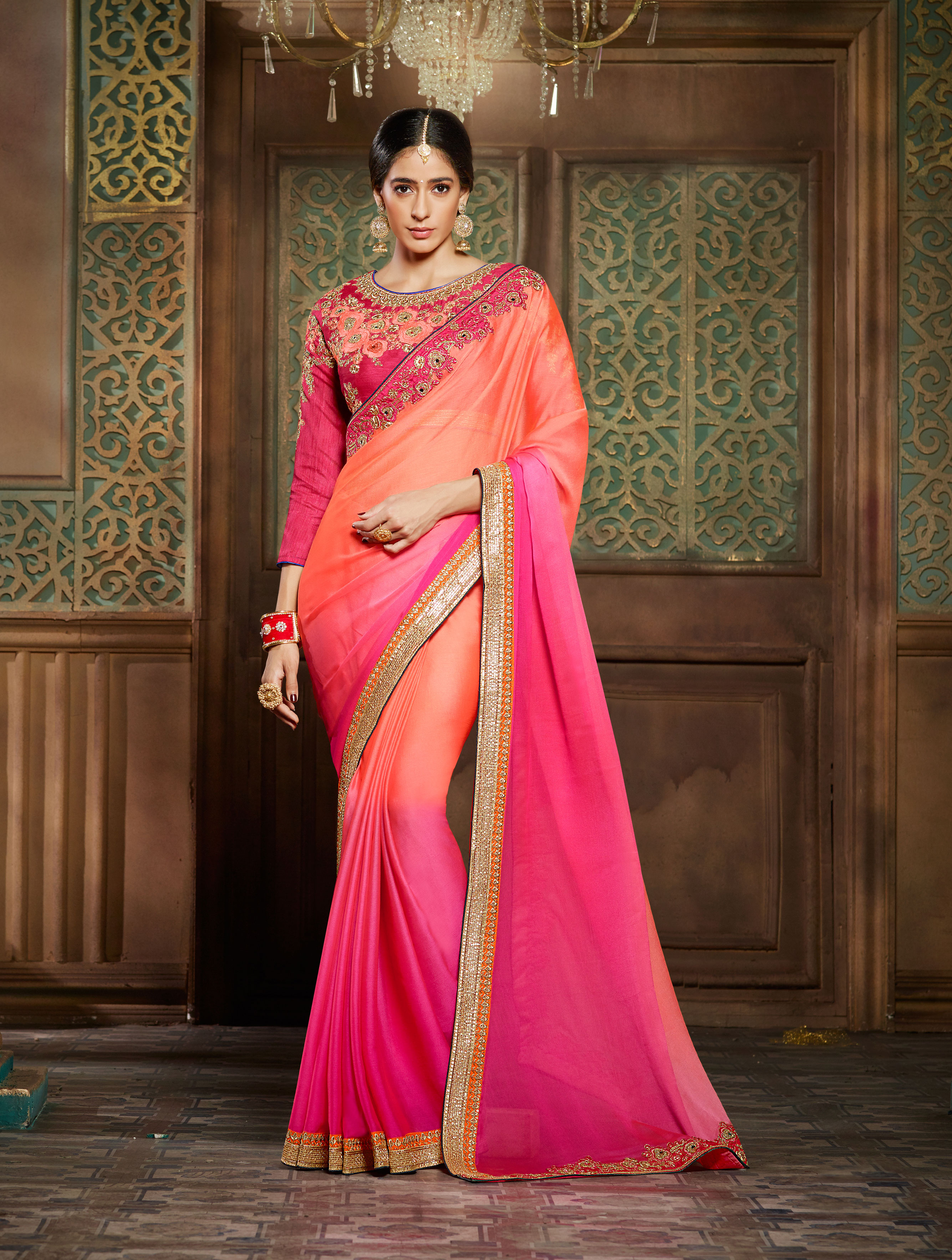 49a9028388 Pink and orange embroidered rim zim two tone chiffon saree with blouse -  Real Saree - 1837845