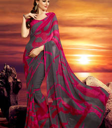 Buy Pink and grey printed georgette saree with blouse printed-saree online