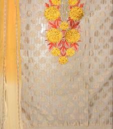 Buy Beautiful Beige and Yellow Chanderi Salwar Kameez party-wear-salwar-kameez online