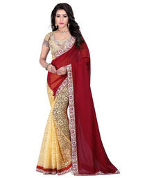 Maroon embroidred saree with blouse