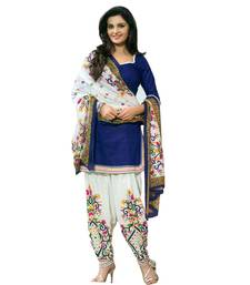 Buy BLue Cotton Printed Unstitched salwar with dupatta  multicolor-salwar-kameez online