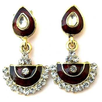 Brown Meenakari Earrings