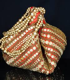 Buy Handmade Satin Beadwork Potli Bag- Red potli-bag online