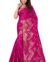 Buy Pink woven art silk saree with blouse kanchipuram-silk-saree online