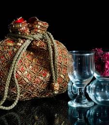 Buy Beaded Drawstring Potli/Batwa- Red fashion-deal online