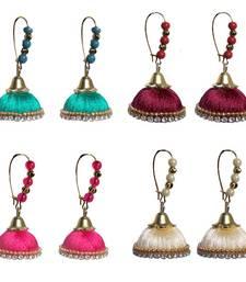 Buy Pack of four designer silk thread jhumkas combo-earring online