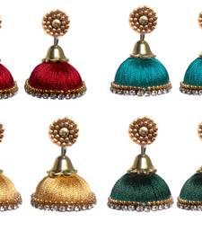 Buy Pack of fourelegant silk thread jhumkas combo-earring online