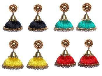 Pack of four designer silk thread jhumkas