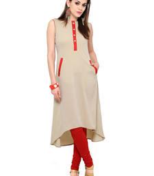 Buy Beige printed crepe party-wear-kurtis party-wear-kurti online