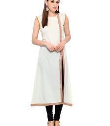 Buy Cream printed crepe party-wear-kurtis party-wear-kurti online