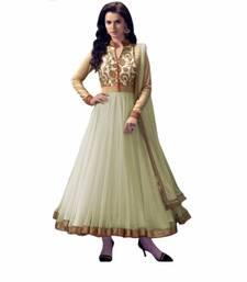 Buy Off white embroidered net semi stitched salwar with dupatta anarkali-salwar-kameez online