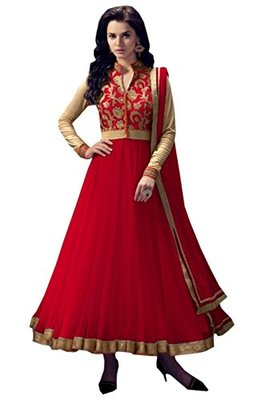 Red embroidered net semi stitched anarkali salwar Kameez