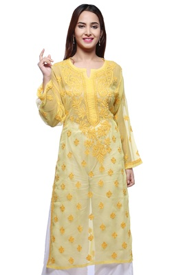 Yellow hand embroidred faux georgette lucknowi chikankari Kurti