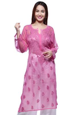 Pink Hand Embroidred Faux Georgette Lucknowi Chikankari Kurti