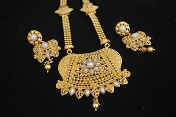 Gold Tone Rajwadi Long necklace set in Pearls