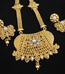 Buy Gold Tone Rajwadi Long necklace set in Pearls women-ethnic-wear online